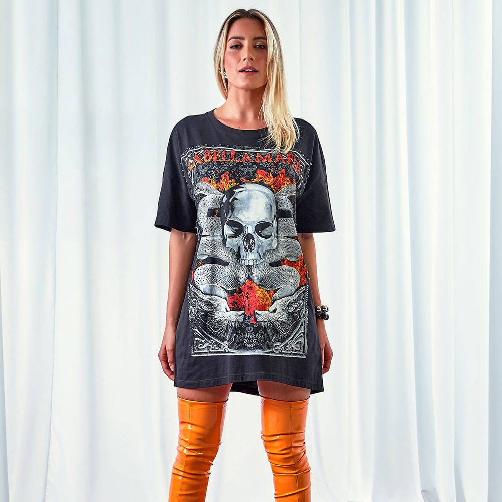 Vestido-Feminino-Black-Groove-Skull----P