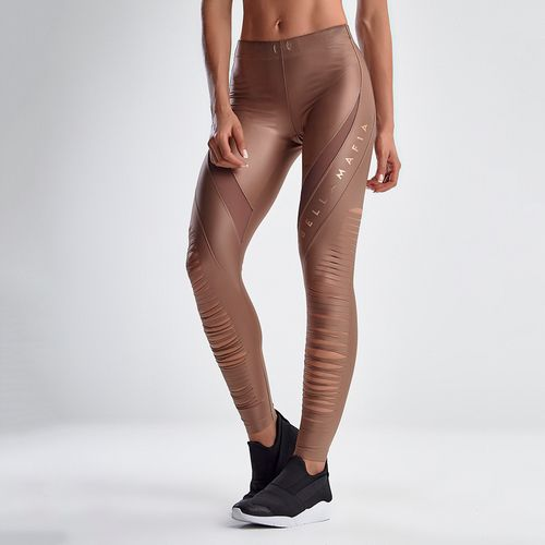 Calca-Legging-Feminina-Earthy-Tones-Glossy-Brown-and-Gold---P