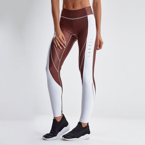 Calca-Legging-Feminina-Earthy-Tones-Glossy-Brown-and-White---P