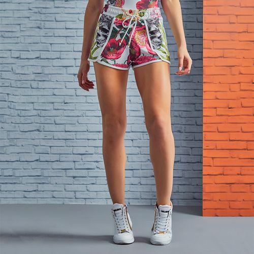 Shorts-Feminina-Hanging-Garden-Skull-Flowers-
