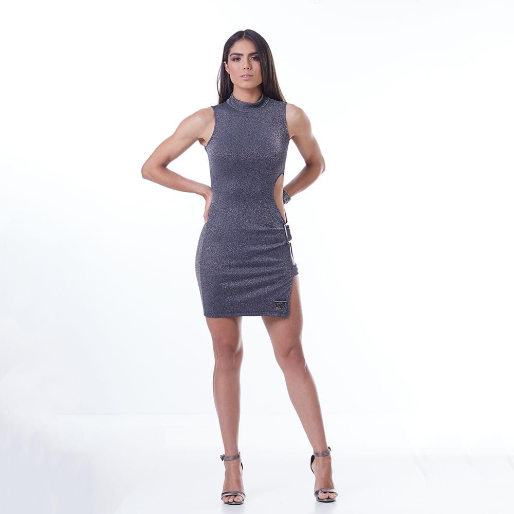 Vestido-Labellamafia-Metallic-Gray-