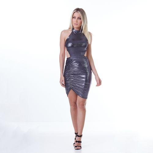Vestido-Labellamafia-Mettalic-Vinil-Gray-