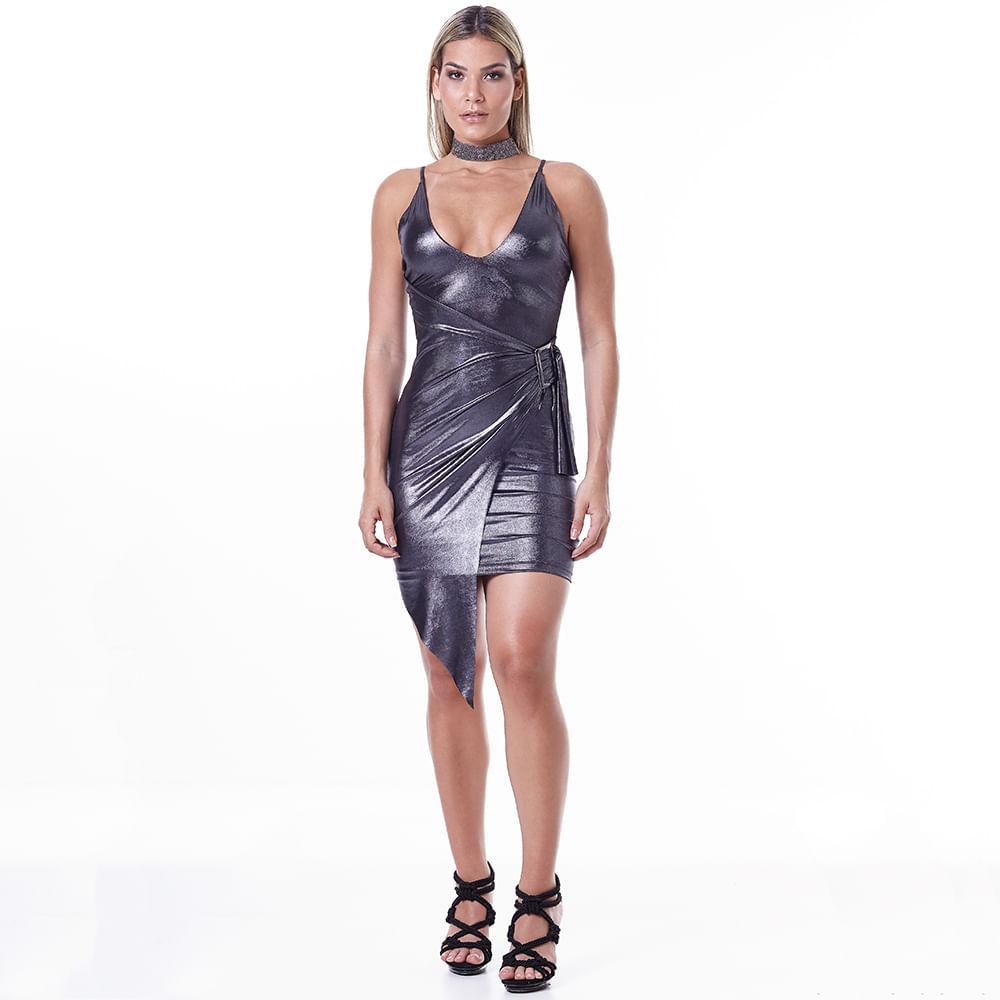 Vestido-Labellamafia-Metallic-Gray-Night